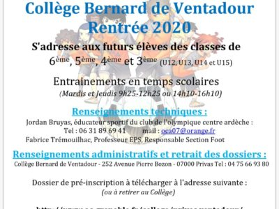 Dossiers d'inscriptions Section Foot College Ventadour